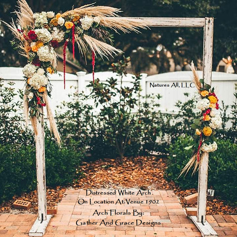 Wedding Arch/Wedding Arbor/Rustic Wedding Arch With Platform Stands Included/Indoors Or Outdoors/Country Wedding Backdrop/Distressed White