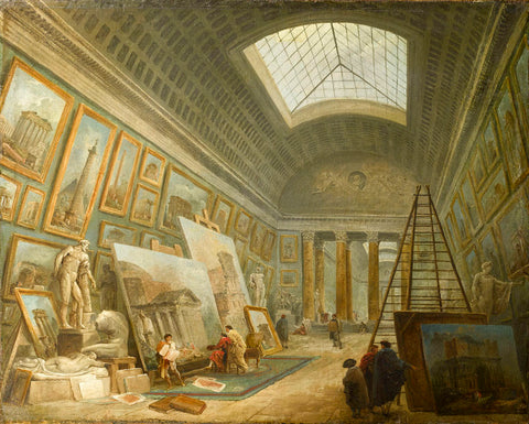 Painting Gallery Being Used as an Artist's Studio, Hubert Robert, 1789, oil on canvas