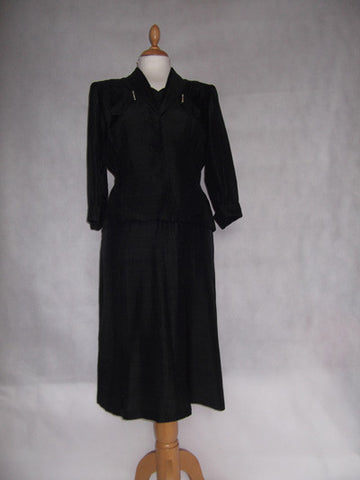 1950's Black Silk Dress and Jacket Diamanté Trim