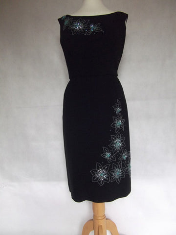 1950's Black Cocktail Dress with Beautiful Blue Bead and Sequin Embellishment