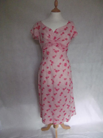 1950's Pink Organdie Summer Dress Hearts!