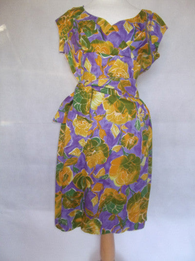 1950's Amazing Colours Mustard and Violet Floral Cotton Dress