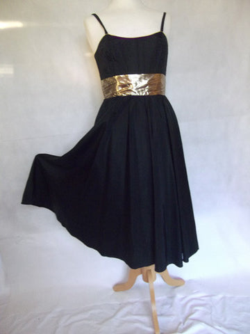 Radley Black Taffeta with Gold Lamé Midriff Party Dress