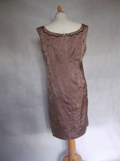 1950's Beaded Mocha Satin Wiggle Dress