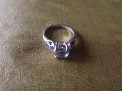 Vintage Style Silver Tone and Diamante Ring Large
