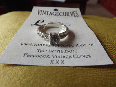 Vintage Style Silver Tone and Diamanté Ring