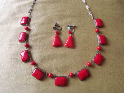 1940s Red Glass and Metal Necklace and Earrings