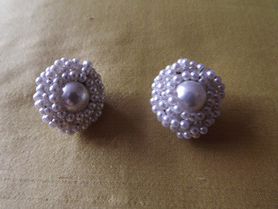 1950s Earrings with Twisted Strands Pearls Clip On