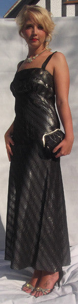 1930's Black and Silver Fine Lurex Evening Gown
