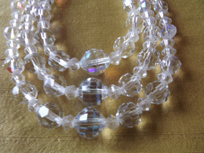 1950s AB Clear Crystal Three Strand Graduated Necklace