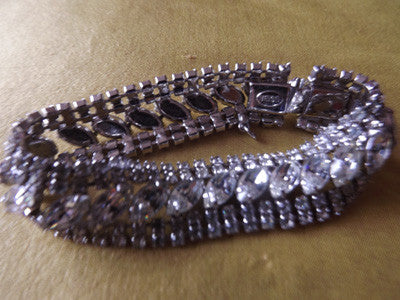 1950s Silver Tone Prong Set Clear Diamanté Bracelet
