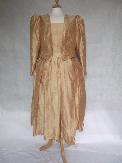 1980's Old Gold Dress and Jacket Bridesmaid Prom