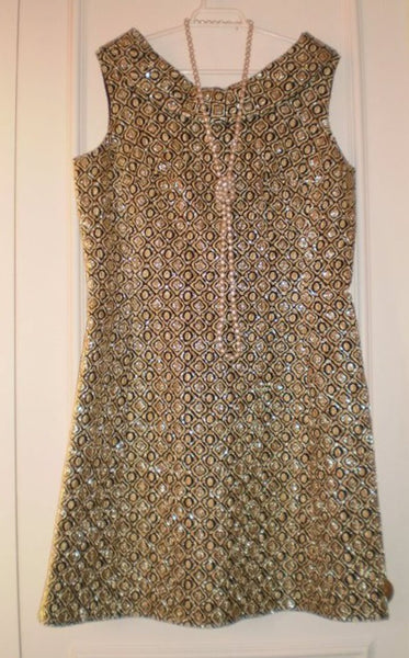 1960's Lame Brocade Black & Gold Mini Dress