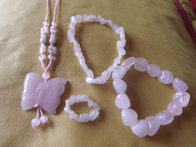 Vintage Style Rose Quartz Necklace, Small Bracelet, Bracelet, Ring