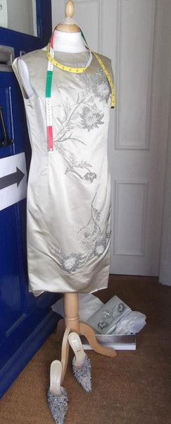 1950's Oyster Duchesse Satin Heavily Beaded Dress, Shoes and Bag