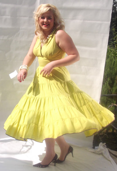 1950s Citrus Yellow with Purple Piping Tiered Dress