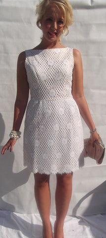 1950's/1960's White Lace over Nude Lining Shift Dress