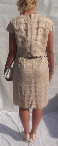 1950s Spaghetti Strap Dress with Removable Bodice/Bolero Nude Lace