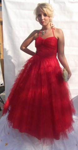 1950's Glorious Lipstick Red Tulle Prom Evening/Occasion Dress