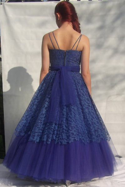 1950's Vibrant Blue Lace and Tulle Evening Gown