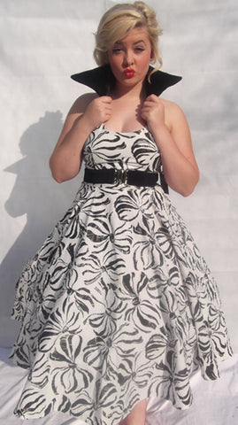 Vintage Style by VC Black and White Bow Print Swing Dress
