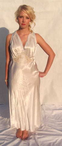 1940's Glamour Ivory Rayon Satin Nightgown