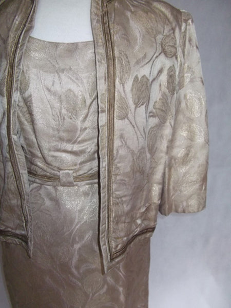 1950's Pale Gold Brocade Dress and Jacket