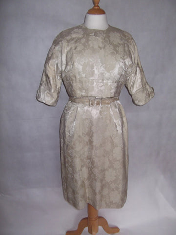 1950s Stone Brocade Dress and Jacket