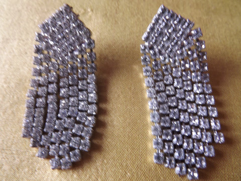 Vintage Style Clear Diamanté Cascade Earrings