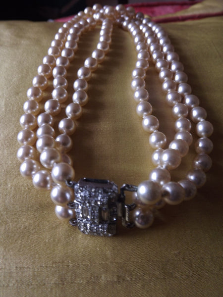 1950s Three Strand Pearl Necklace with Diamanté Clasp