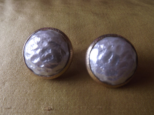 1950s Large Pearl Button Earrings Gilt setting Clips