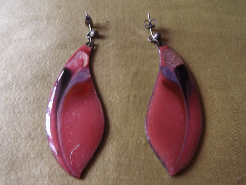 Vintage Style Shades of Pink Enamel Teardrop Earrings