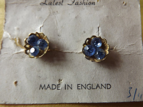 1950s Gilt Cup Shaped Earrings with Sky Blue Diamantés