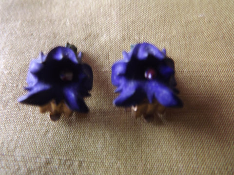 1950s Blue Violets Clip Earrings