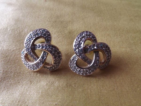 Vintage Style Gilt Diamanté Celtic Swirl Earrings