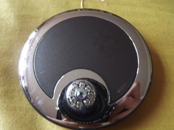 Vintage Style Black and Silver Tone Mirror Compact