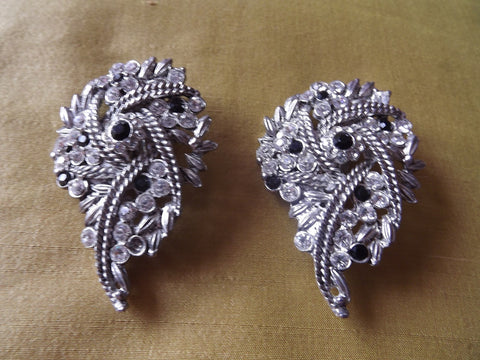 1950s Large Silver Tone Earrings with Clear and Black Diamantés