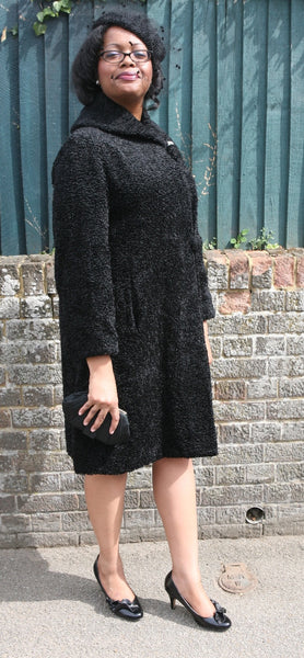 1950s/1960s Rich Black Astrakhan Coat and Hat
