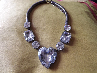 1980s-1990s Silver Tone Large Heart Diamanté Necklace