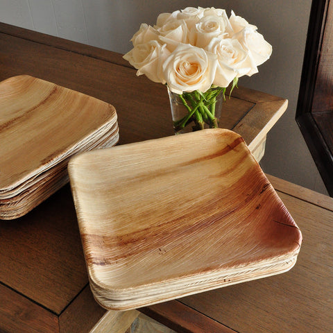 "Dinner Plates. Ships in 1-3 Business Days. Disposable 10"" Palm Leaf Plates. Set of 10. Modern Square Party Plates."