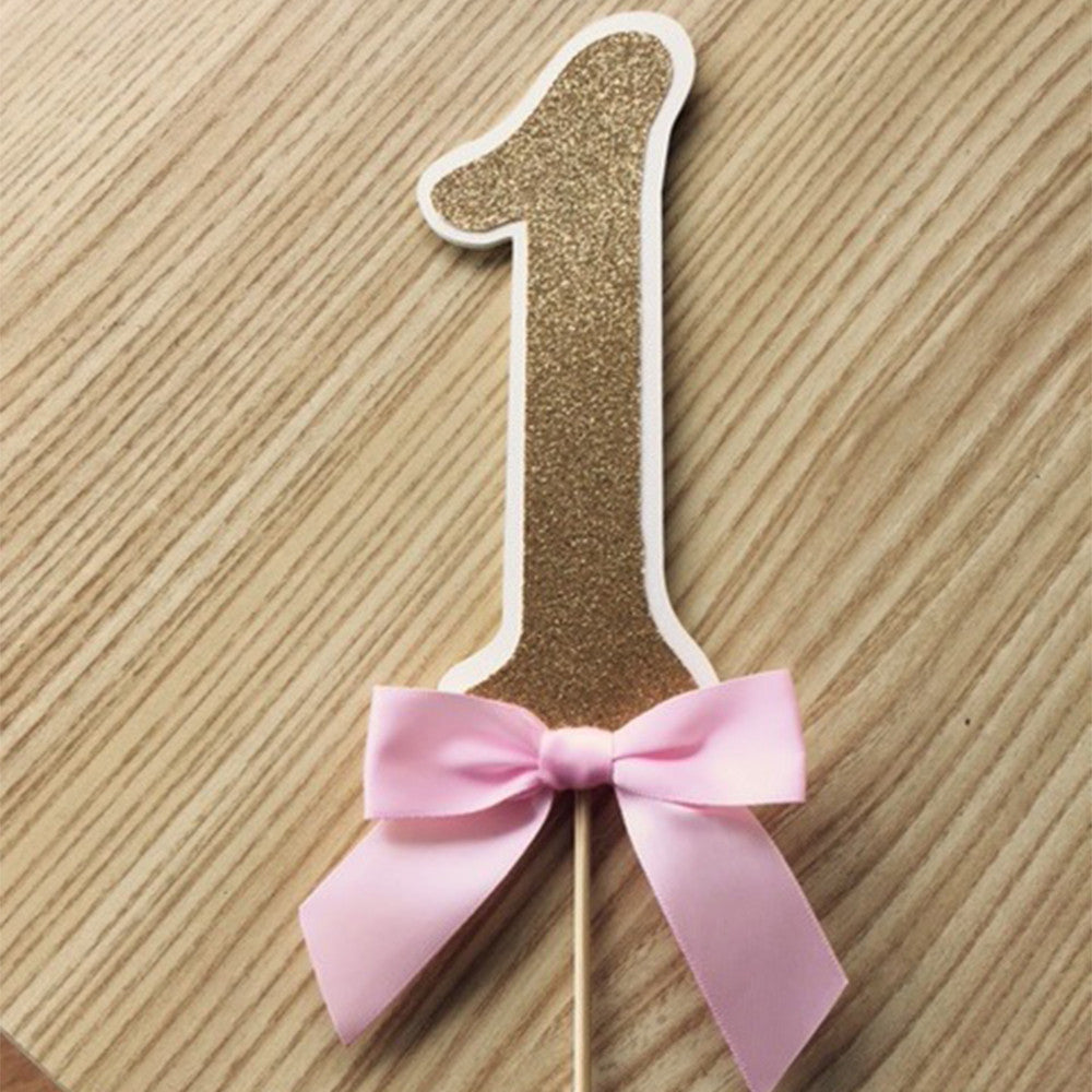 Pink and Gold Birthday Party Decorarations.  Ships in 1-3 Business Days.  Glitter Number Cake Topper.