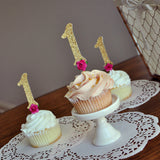 Pink and Gold 1st Birthday Decoration. Number 1 Cupcake Toppers with Flowers. Number Cupcake Toppers 12CT.