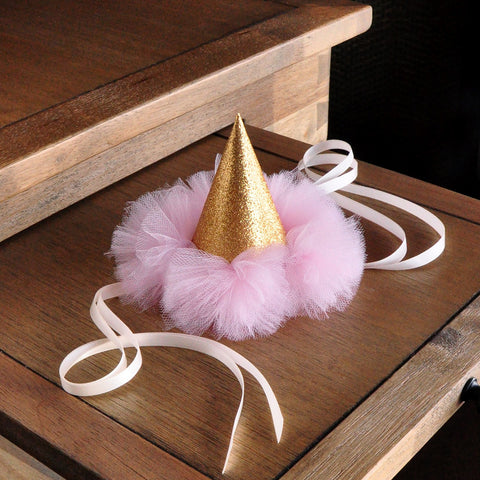 1st Birthday Hat. Pink and Gold Birthday Party Decoration. Smash Cake Outfit. Pink and Gold Mini Party Hat.