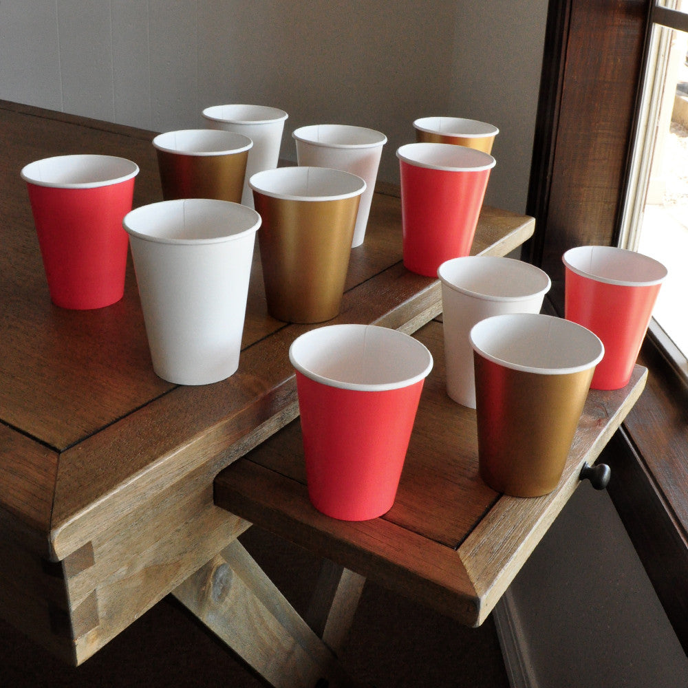 1st Birthday Paper Party Cups in Gold, Coral, and White 12CT. Ships in 1-3 Business Days. Gold and Coral Party Decor.