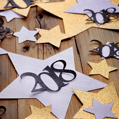 New Years Eve Decorations. Glitter Gold and Woodgrain Jumbo Star Confetti with 2018. Made in 3-5 Business Days. NYE Confetti Mix for Table.