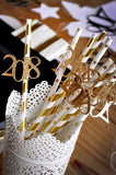 New Years Eve Straws 10CT. Handcrafted in 1-3 Business Days.  Metallic Gold Striped and Star Straws with Gold 2018.