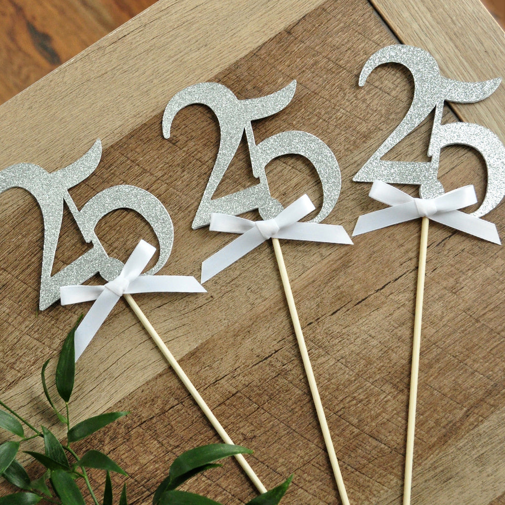 25 Centerpieces. (1 set of 3) 25th Anniversary. Silver Party Decorations. 25th Wedding Anniversary.