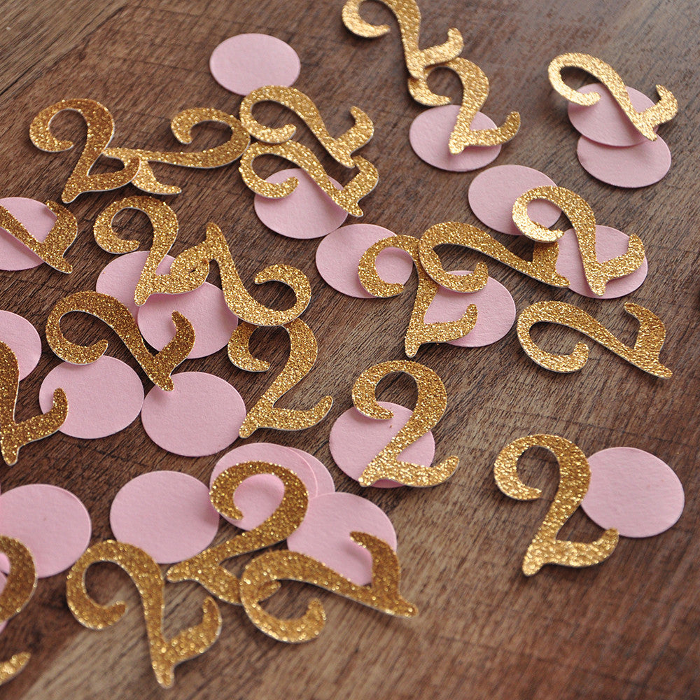 Pink and Gold Birthday Party Decorations. Ships in 1-3 Business Days. Mini Number Confetti 50CT.