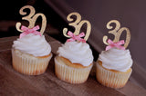 30th Birthday Cupcake Toppers 12CT.  Ships in 1-3 Business Days.  30th Birthday Decoration.
