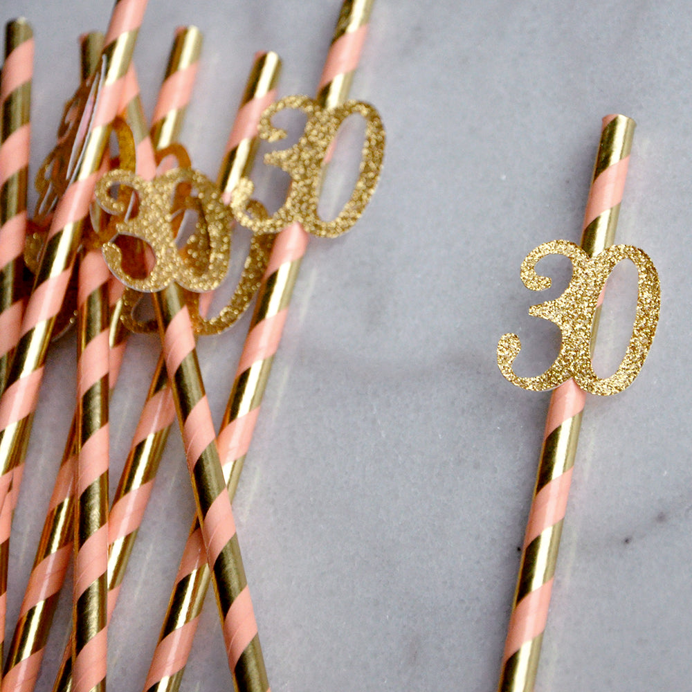 30th Birthday Straws 10CT. Made 1-3 Business Days.  Metallic Gold and Coral Striped Straws with Gold 30. 30th Birthday Supplies.